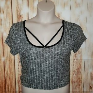 Charlotte Russe Large Strappy Knit Jersey Crop Top